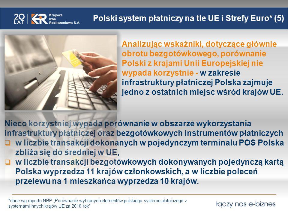 Polski system płatniczy na tle UE i Strefy Euro* (5) Analizując wskaźniki, dotyczące głównie obrotu bezgotówkowego, porównanie Polski z krajami Unii E