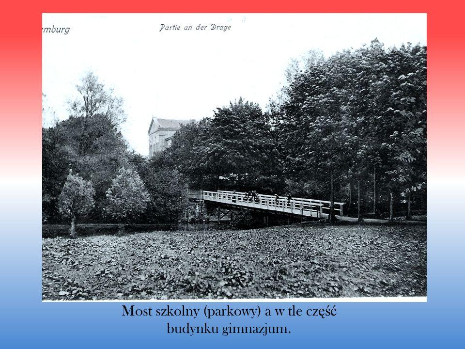 Most szkolny (parkowy) a w tle cz ęść budynku gimnazjum.
