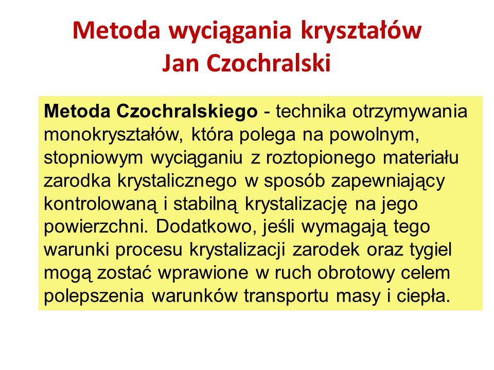Metoda wyciągania kryształów Jan Czochralski Metoda Czochralskiego - technika otrzymywania monokryształów, która polega na powolnym, stopniowym wyciąg