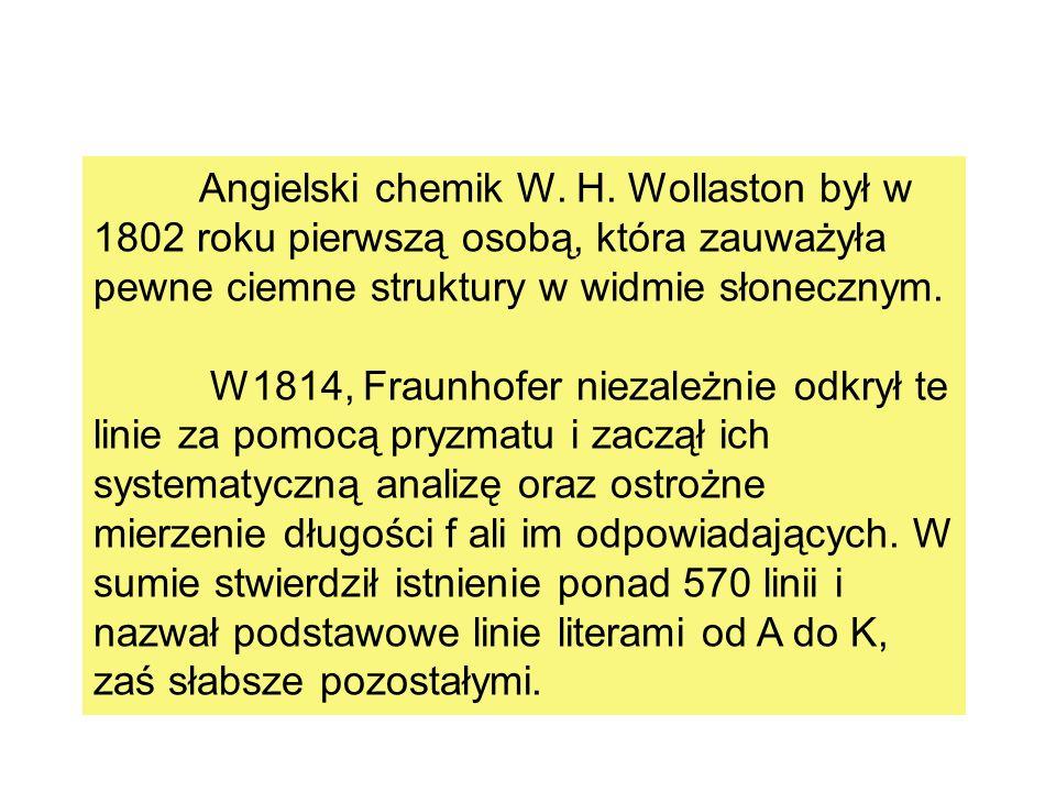 Angielski chemik W. H. Wollaston był w 1802 roku pierwszą osobą, która zauważyła pewne ciemne struktury w widmie słonecznym. W1814, Fraunhofer niezale