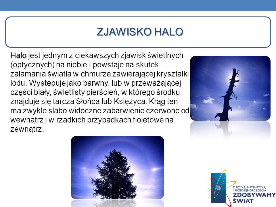 ZJAWISKO HALO Halo Halo jest jednym z ciekawszych zjawisk świetlnych (optycznych) na niebie i powstaje na skutek załamania światła w chmurze zawierają