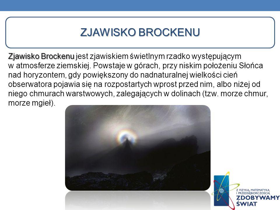 ZJAWISKO BROCKENU Zjawisko Brockenu Zjawisko Brockenu jest zjawiskiem świetlnym rzadko występującym w atmosferze ziemskiej. Powstaje w górach, przy ni