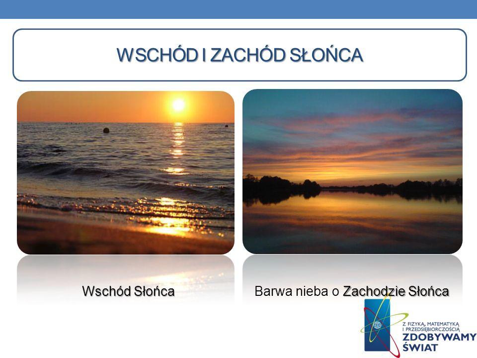 WSCHÓD I ZACHÓD SŁOŃCA Wschód Słońca Zachodzie Słońca Barwa nieba o Zachodzie Słońca