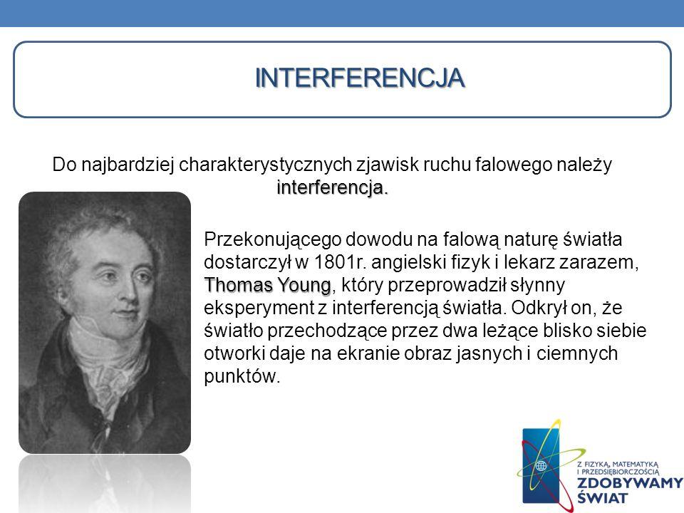 INTERFERENCJA interferencja. Do najbardziej charakterystycznych zjawisk ruchu falowego należy interferencja. Thomas Young Przekonującego dowodu na fal