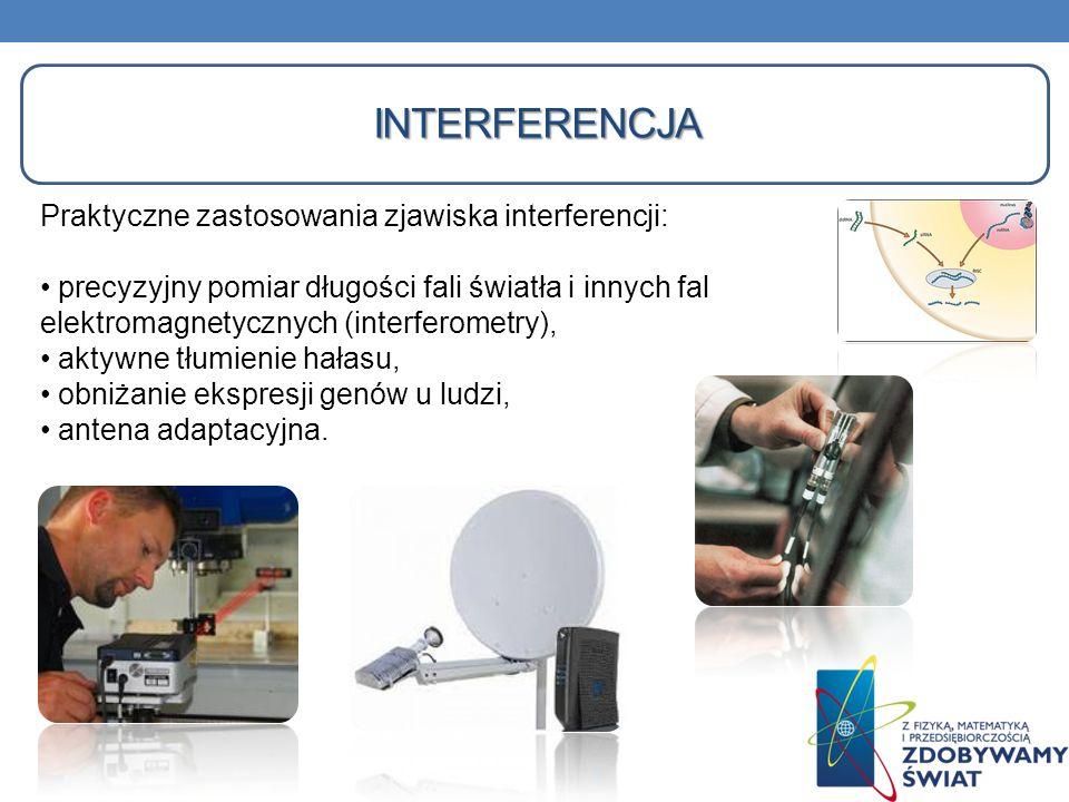 Praktyczne zastosowania zjawiska interferencji: precyzyjny pomiar długości fali światła i innych fal elektromagnetycznych (interferometry), aktywne tł