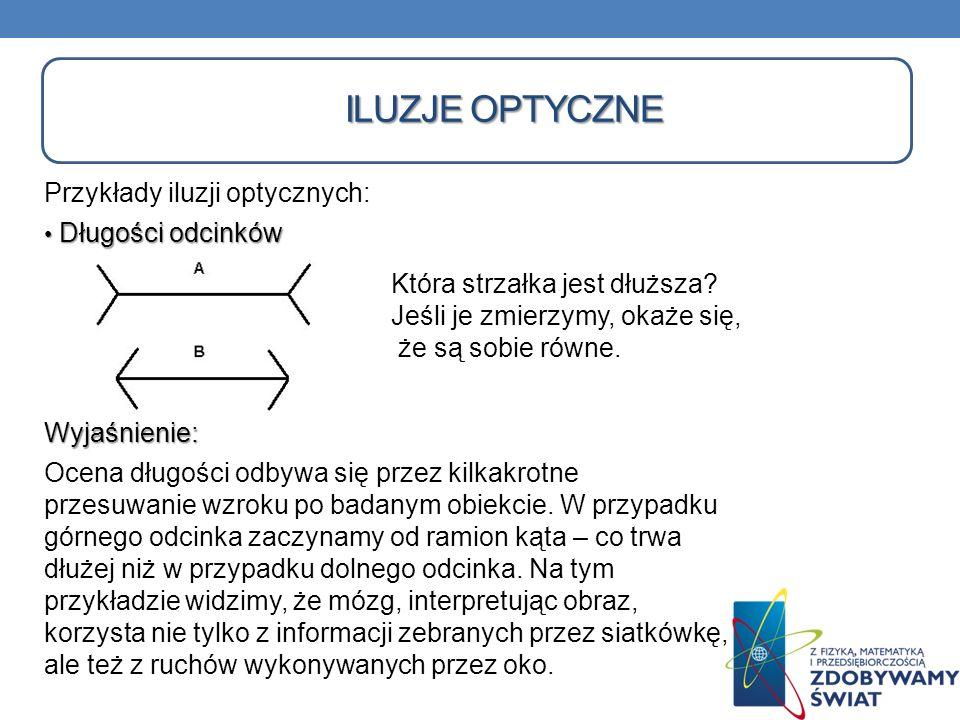 ILUZJE OPTYCZNE Przykłady iluzji optycznych: Długości odcinków Długości odcinkówWyjaśnienie: Ocena długości odbywa się przez kilkakrotne przesuwanie w