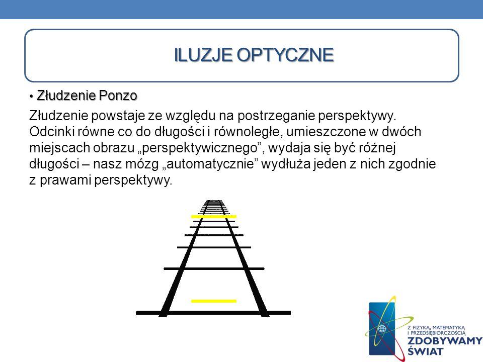 Złudzenie Ponzo Złudzenie Ponzo Złudzenie powstaje ze względu na postrzeganie perspektywy. Odcinki równe co do długości i równoległe, umieszczone w dw