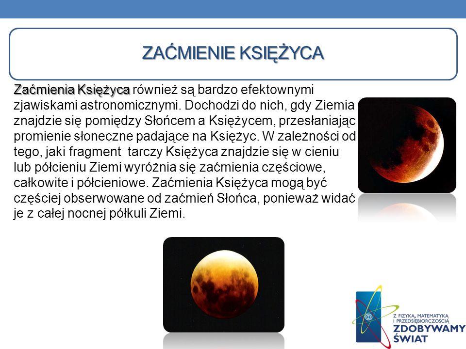 ZAĆMIENIE KSIĘŻYCA Zaćmienia Księżyca Zaćmienia Księżyca również są bardzo efektownymi zjawiskami astronomicznymi. Dochodzi do nich, gdy Ziemia znajdz