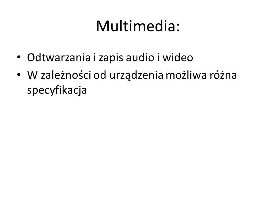 Multimedia: Odtwarzania i zapis audio i wideo W zależności od urządzenia możliwa różna specyfikacja