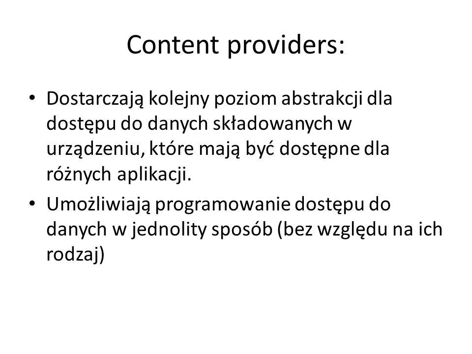 Content providers: Dostarczają kolejny poziom abstrakcji dla dostępu do danych składowanych w urządzeniu, które mają być dostępne dla różnych aplikacji.