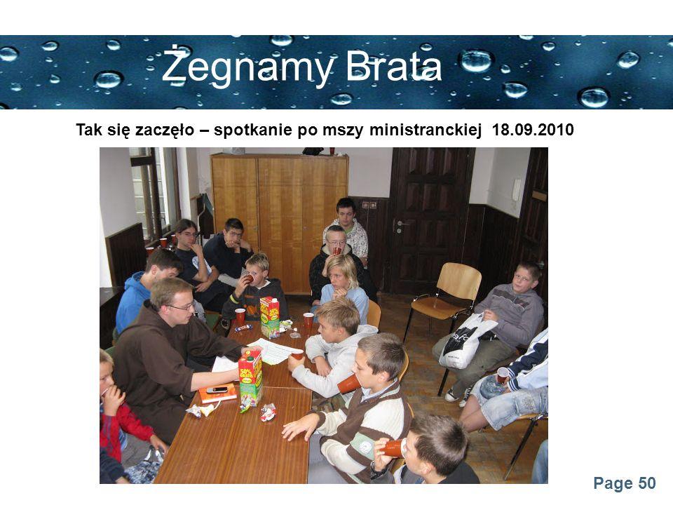 Page 50 Żegnamy Brata Tak się zaczęło – spotkanie po mszy ministranckiej 18.09.2010
