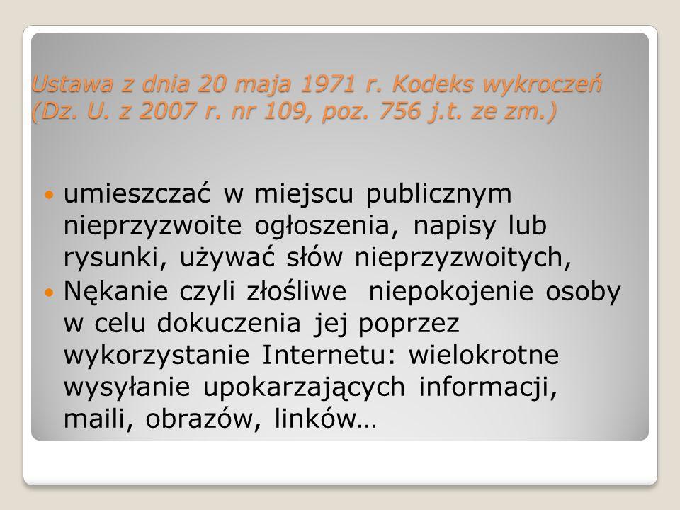 Ustawa z dnia 20 maja 1971 r. Kodeks wykroczeń (Dz. U. z 2007 r. nr 109, poz. 756 j.t. ze zm.) umieszczać w miejscu publicznym nieprzyzwoite ogłoszeni