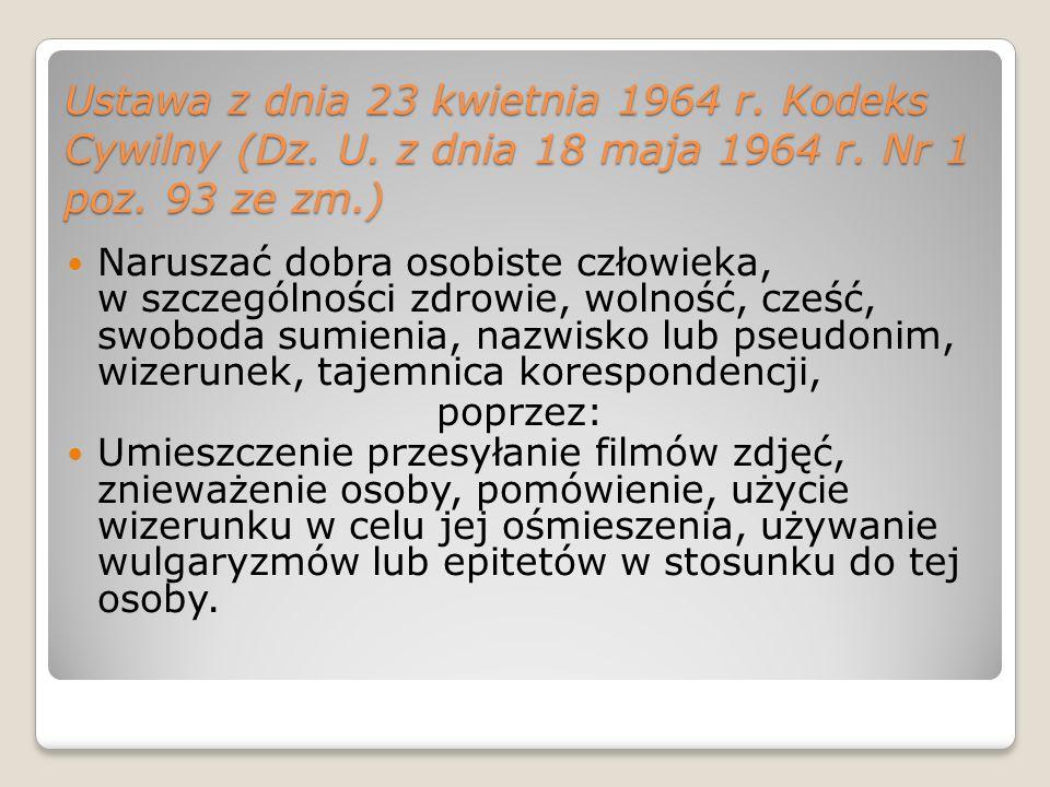 Ustawa z dnia 23 kwietnia 1964 r. Kodeks Cywilny (Dz. U. z dnia 18 maja 1964 r. Nr 1 poz. 93 ze zm.) Naruszać dobra osobiste człowieka, w szczególnośc
