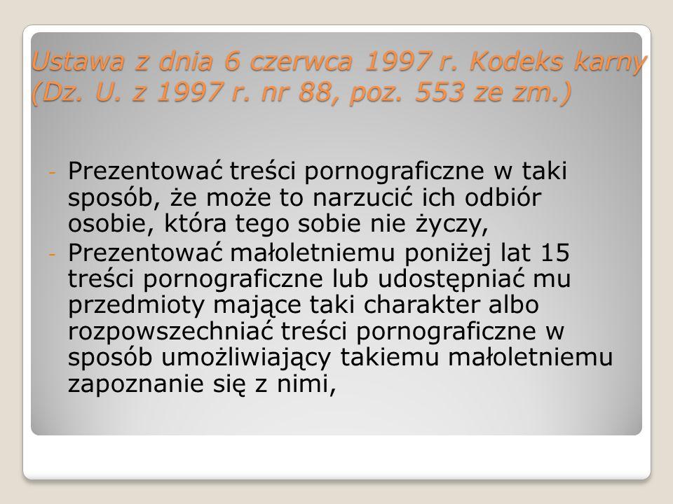 Ustawa z dnia 6 czerwca 1997 r. Kodeks karny (Dz. U. z 1997 r. nr 88, poz. 553 ze zm.) - Prezentować treści pornograficzne w taki sposób, że może to n