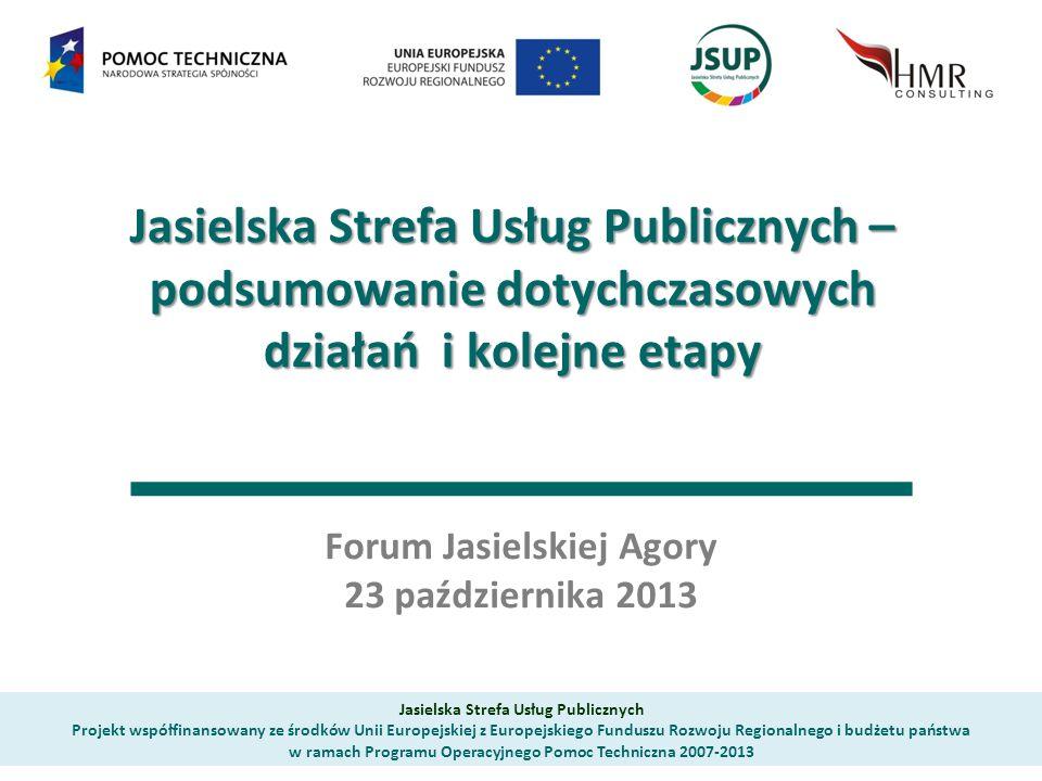 Jasielska Strefa Usług Publicznych – podsumowanie dotychczasowych działań i kolejne etapy Forum Jasielskiej Agory 23 października 2013 Jasielska Stref