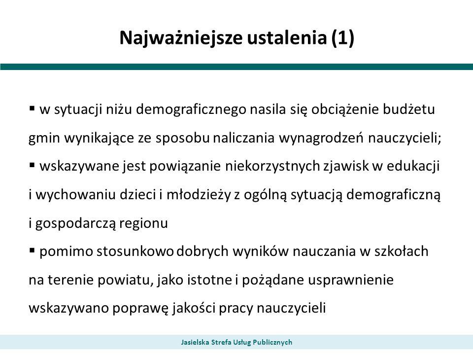 Najważniejsze ustalenia (1) w sytuacji niżu demograficznego nasila się obciążenie budżetu gmin wynikające ze sposobu naliczania wynagrodzeń nauczycieli; wskazywane jest powiązanie niekorzystnych zjawisk w edukacji i wychowaniu dzieci i młodzieży z ogólną sytuacją demograficzną i gospodarczą regionu pomimo stosunkowo dobrych wyników nauczania w szkołach na terenie powiatu, jako istotne i pożądane usprawnienie wskazywano poprawę jakości pracy nauczycieli Jasielska Strefa Usług Publicznych