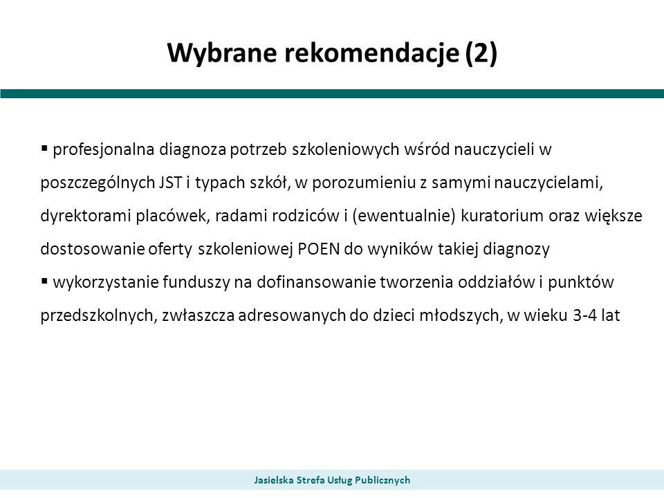 Wybrane rekomendacje (2) Jasielska Strefa Usług Publicznych profesjonalna diagnoza potrzeb szkoleniowych wśród nauczycieli w poszczególnych JST i typa