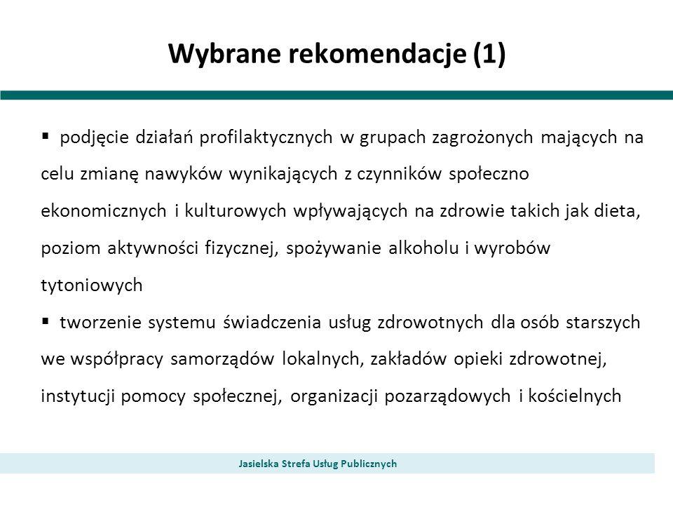 Wybrane rekomendacje (1) Jasielska Strefa Usług Publicznych podjęcie działań profilaktycznych w grupach zagrożonych mających na celu zmianę nawyków wy