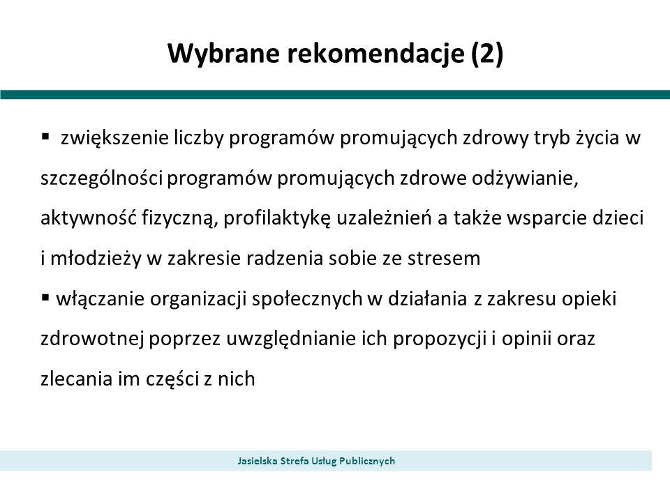 Wybrane rekomendacje (2) Jasielska Strefa Usług Publicznych zwiększenie liczby programów promujących zdrowy tryb życia w szczególności programów promu