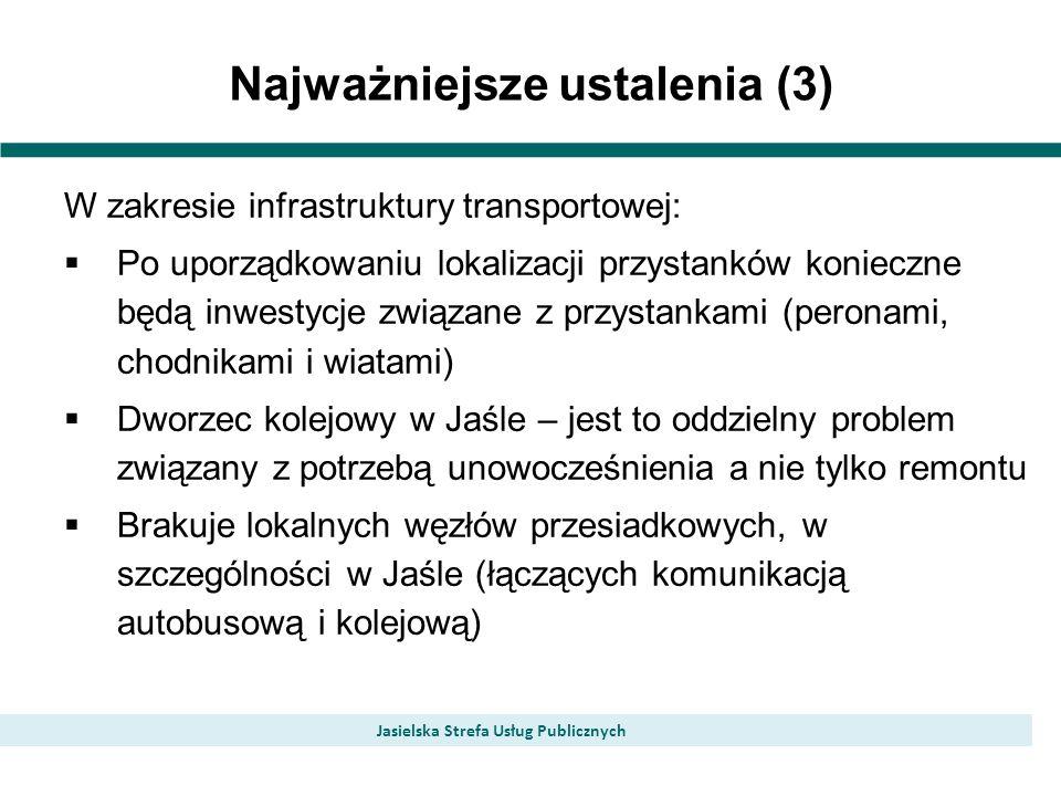 Najważniejsze ustalenia (3) Jasielska Strefa Usług Publicznych W zakresie infrastruktury transportowej: Po uporządkowaniu lokalizacji przystanków konieczne będą inwestycje związane z przystankami (peronami, chodnikami i wiatami) Dworzec kolejowy w Jaśle – jest to oddzielny problem związany z potrzebą unowocześnienia a nie tylko remontu Brakuje lokalnych węzłów przesiadkowych, w szczególności w Jaśle (łączących komunikacją autobusową i kolejową)