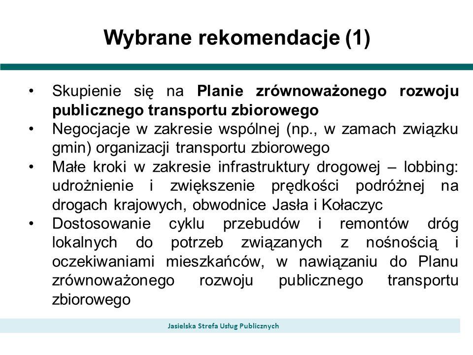 Wybrane rekomendacje (1) Jasielska Strefa Usług Publicznych Skupienie się na Planie zrównoważonego rozwoju publicznego transportu zbiorowego Negocjacje w zakresie wspólnej (np., w zamach związku gmin) organizacji transportu zbiorowego Małe kroki w zakresie infrastruktury drogowej – lobbing: udrożnienie i zwiększenie prędkości podróżnej na drogach krajowych, obwodnice Jasła i Kołaczyc Dostosowanie cyklu przebudów i remontów dróg lokalnych do potrzeb związanych z nośnością i oczekiwaniami mieszkańców, w nawiązaniu do Planu zrównoważonego rozwoju publicznego transportu zbiorowego