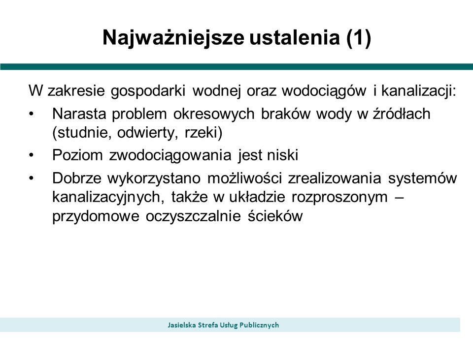 Najważniejsze ustalenia (1) Jasielska Strefa Usług Publicznych W zakresie gospodarki wodnej oraz wodociągów i kanalizacji: Narasta problem okresowych