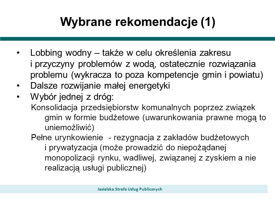 Wybrane rekomendacje (1) Jasielska Strefa Usług Publicznych Lobbing wodny – także w celu określenia zakresu i przyczyny problemów z wodą, ostatecznie
