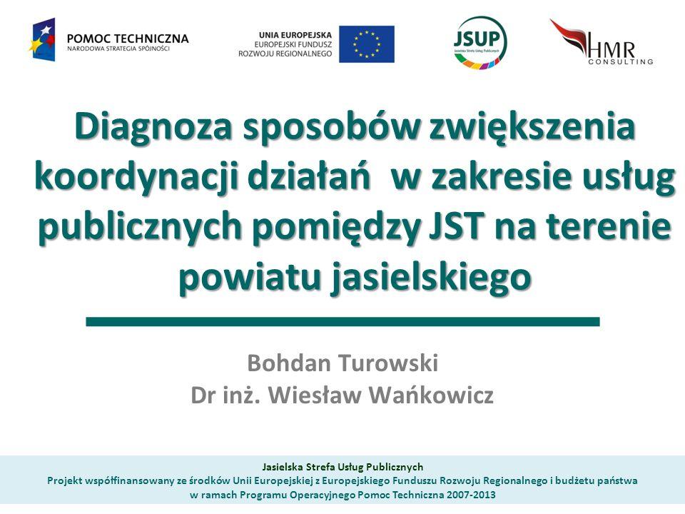 Diagnoza sposobów zwiększenia koordynacji działań w zakresie usług publicznych pomiędzy JST na terenie powiatu jasielskiego Diagnoza sposobów zwiększenia koordynacji działań w zakresie usług publicznych pomiędzy JST na terenie powiatu jasielskiego Bohdan Turowski Dr inż.