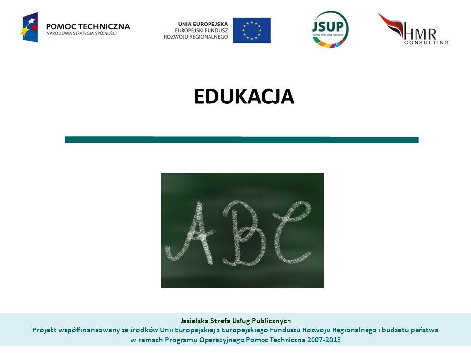 EDUKACJA Jasielska Strefa Usług Publicznych Projekt współfinansowany ze środków Unii Europejskiej z Europejskiego Funduszu Rozwoju Regionalnego i budżetu państwa w ramach Programu Operacyjnego Pomoc Techniczna 2007-2013