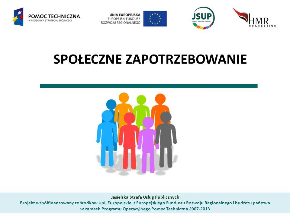SPOŁECZNE ZAPOTRZEBOWANIE Jasielska Strefa Usług Publicznych Projekt współfinansowany ze środków Unii Europejskiej z Europejskiego Funduszu Rozwoju Regionalnego i budżetu państwa w ramach Programu Operacyjnego Pomoc Techniczna 2007-2013