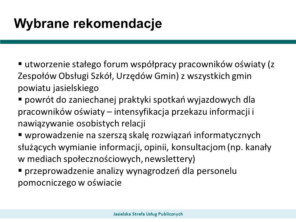 Wybrane rekomendacje utworzenie stałego forum współpracy pracowników oświaty (z Zespołów Obsługi Szkół, Urzędów Gmin) z wszystkich gmin powiatu jasiel