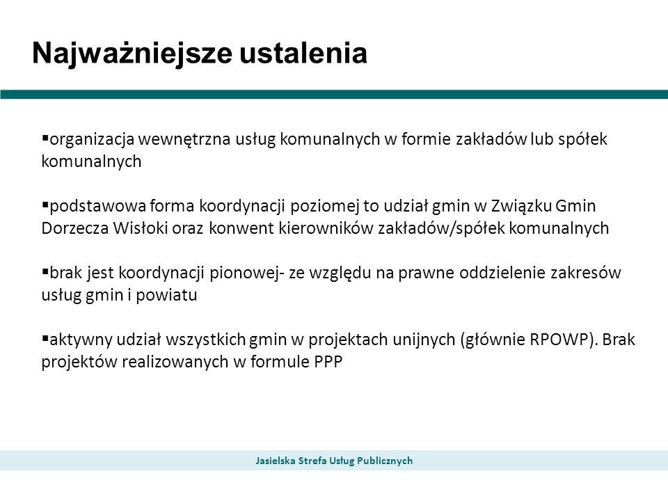 Najważniejsze ustalenia Jasielska Strefa Usług Publicznych organizacja wewnętrzna usług komunalnych w formie zakładów lub spółek komunalnych podstawow