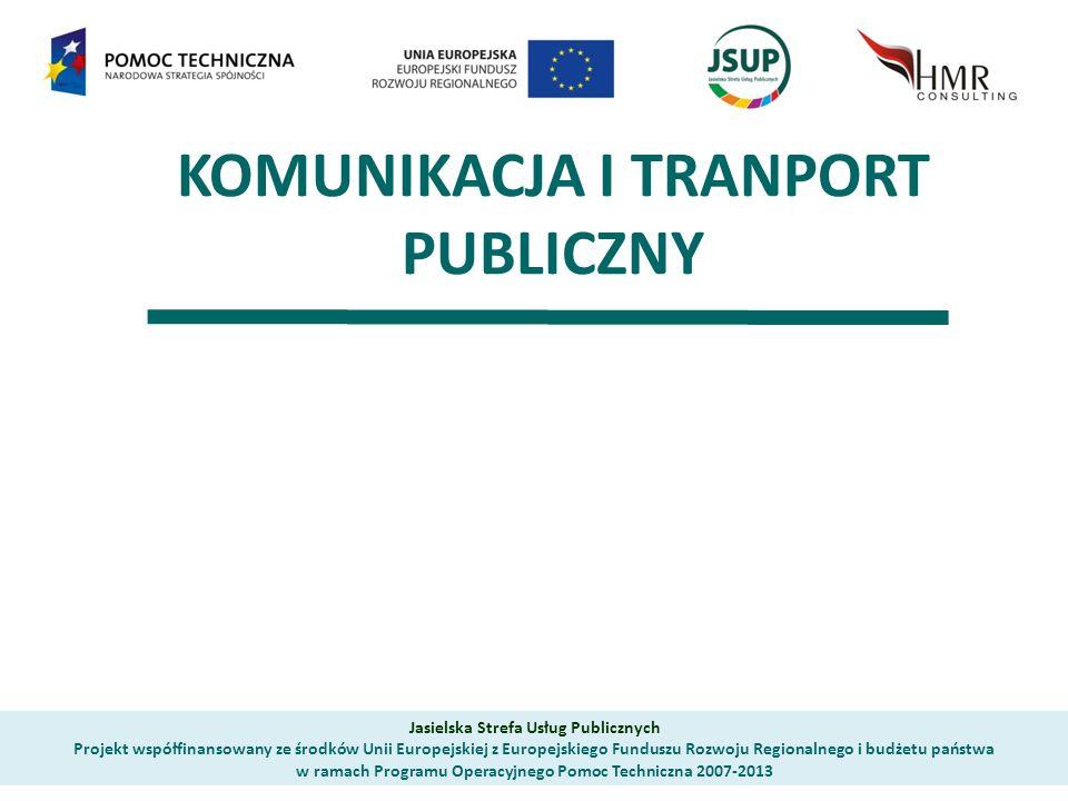 KOMUNIKACJA I TRANPORT PUBLICZNY Jasielska Strefa Usług Publicznych Projekt współfinansowany ze środków Unii Europejskiej z Europejskiego Funduszu Rozwoju Regionalnego i budżetu państwa w ramach Programu Operacyjnego Pomoc Techniczna 2007-2013