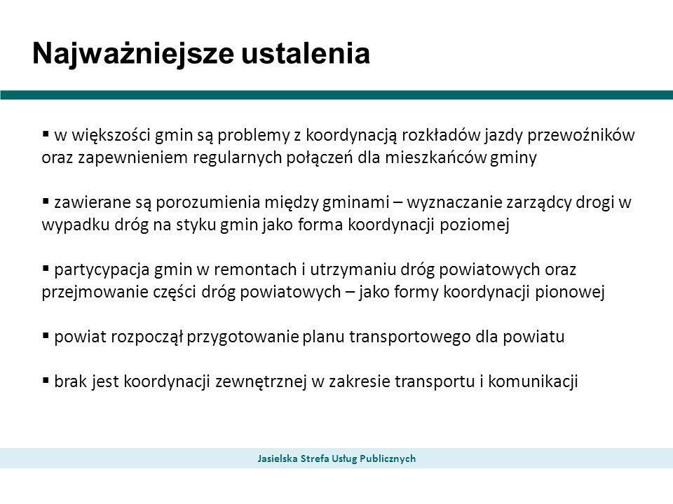 Najważniejsze ustalenia Jasielska Strefa Usług Publicznych w większości gmin są problemy z koordynacją rozkładów jazdy przewoźników oraz zapewnieniem