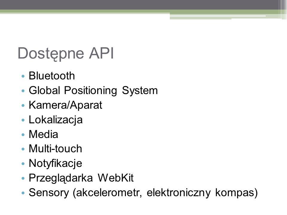 Dostępne API Bluetooth Global Positioning System Kamera/Aparat Lokalizacja Media Multi-touch Notyfikacje Przeglądarka WebKit Sensory (akcelerometr, el