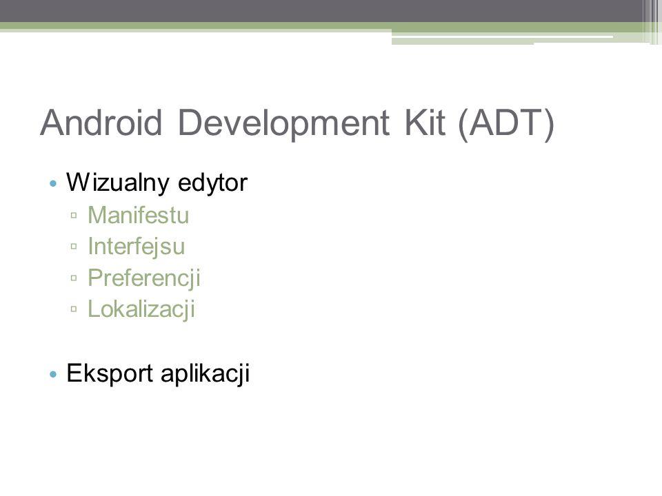 Android Development Kit (ADT) Wizualny edytor Manifestu Interfejsu Preferencji Lokalizacji Eksport aplikacji