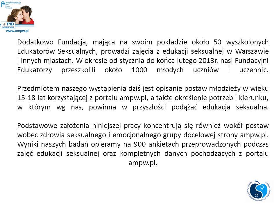 Dodatkowo Fundacja, mająca na swoim pokładzie około 50 wyszkolonych Edukatorów Seksualnych, prowadzi zajęcia z edukacji seksualnej w Warszawie i innyc