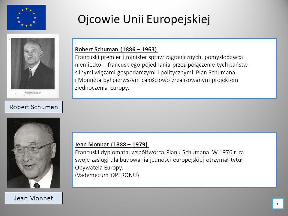 Ojcowie Unii Europejskiej Robert Schuman Robert Schuman (1886 – 1963) Francuski premier i minister spraw zagranicznych, pomysłodawca niemiecko – franc