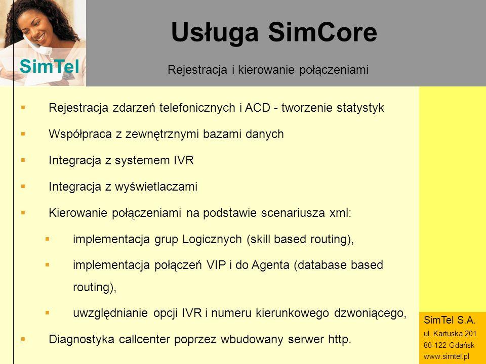 SimTel ul. Hubala 14 80-289 Gdańsk www.simtel.pl SimTel Usługa SimCore Rejestracja i kierowanie połączeniami Rejestracja zdarzeń telefonicznych i ACD