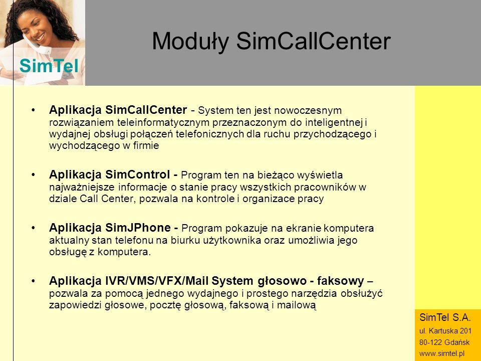 SimTel ul. Hubala 14 80-289 Gdańsk www.simtel.pl SimTel Moduły SimCallCenter Aplikacja SimCallCenter - System ten jest nowoczesnym rozwiązaniem telein
