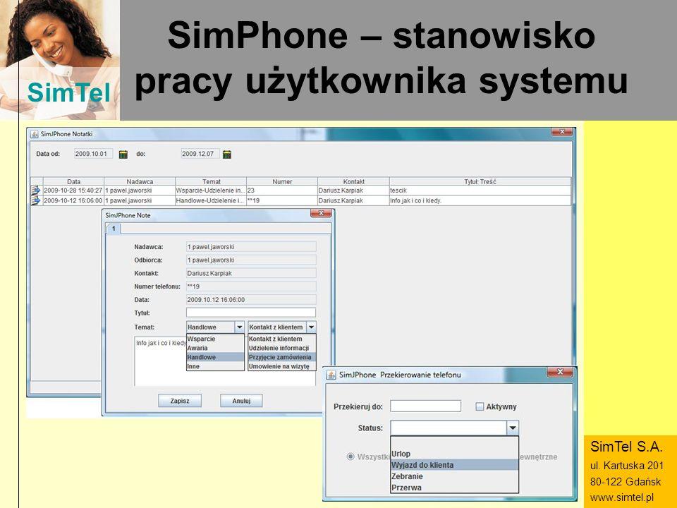 SimTel ul. Hubala 14 80-289 Gdańsk www.simtel.pl SimTel SimPhone – stanowisko pracy użytkownika systemu SimTel S.A. ul. Kartuska 201 80-122 Gdańsk www
