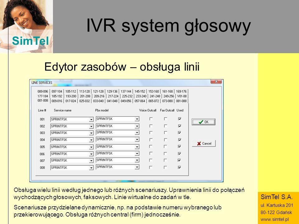 SimTel ul. Hubala 14 80-289 Gdańsk www.simtel.pl SimTel IVR system głosowy Edytor zasobów – obsługa linii Obsługa wielu linii według jednego lub różny