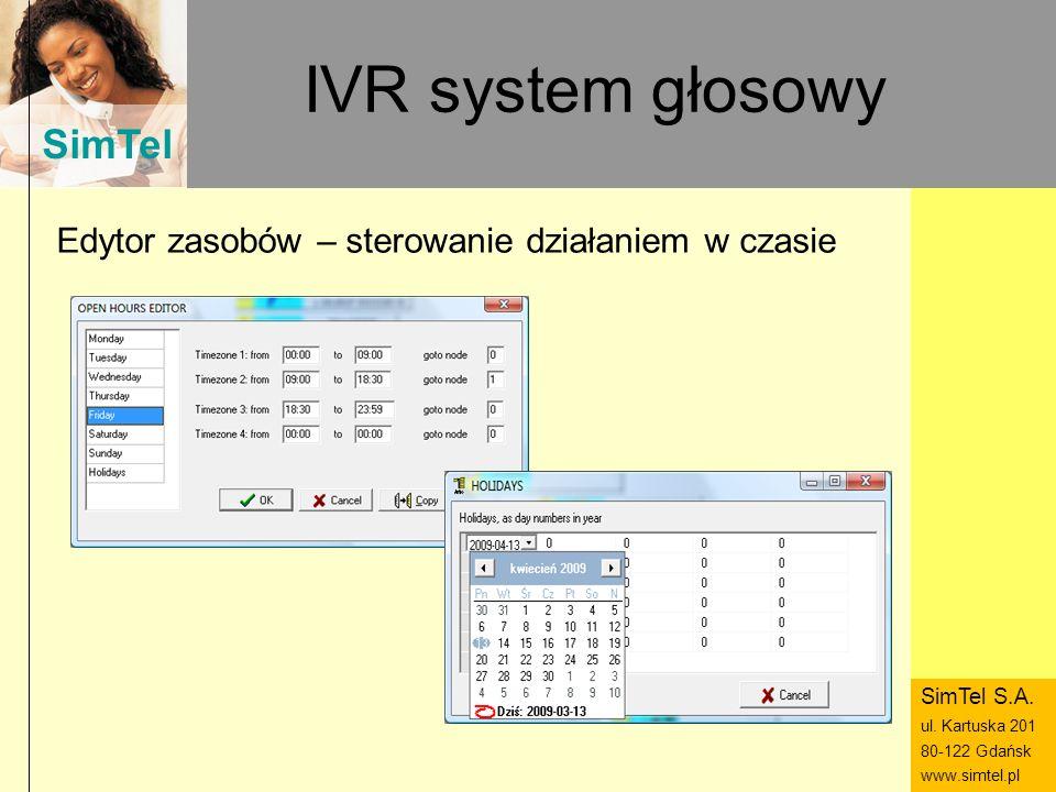 SimTel ul. Hubala 14 80-289 Gdańsk www.simtel.pl SimTel IVR system głosowy Edytor zasobów – sterowanie działaniem w czasie SimTel S.A. ul. Kartuska 20