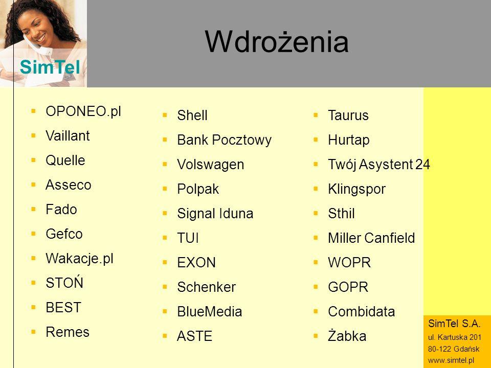 SimTel ul. Hubala 14 80-289 Gdańsk www.simtel.pl SimTel Wdrożenia OPONEO.pl Vaillant Quelle Asseco Fado Gefco Wakacje.pl STOŃ BEST Remes Shell Bank Po