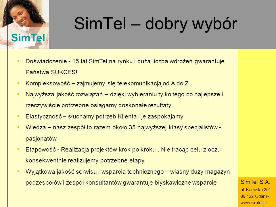 SimTel ul. Hubala 14 80-289 Gdańsk www.simtel.pl SimTel SimTel – dobry wybór Doświadczenie - 15 lat SimTel na rynku i duża liczba wdrożeń gwarantuje P