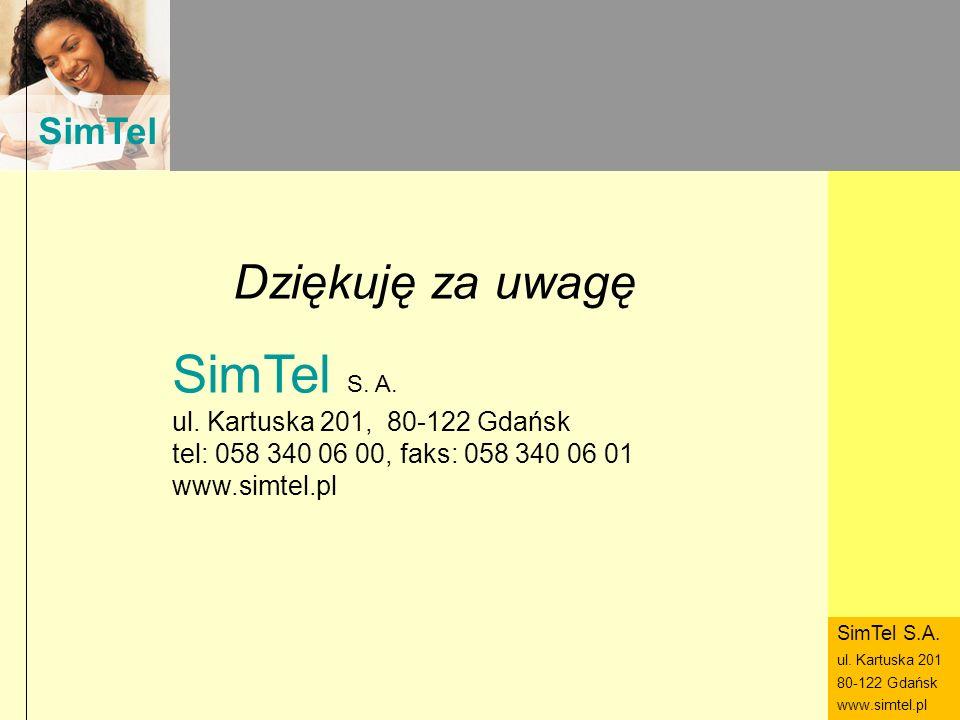 SimTel ul. Hubala 14 80-289 Gdańsk www.simtel.pl SimTel Dziękuję za uwagę SimTel S. A. ul. Kartuska 201, 80-122 Gdańsk tel: 058 340 06 00, faks: 058 3