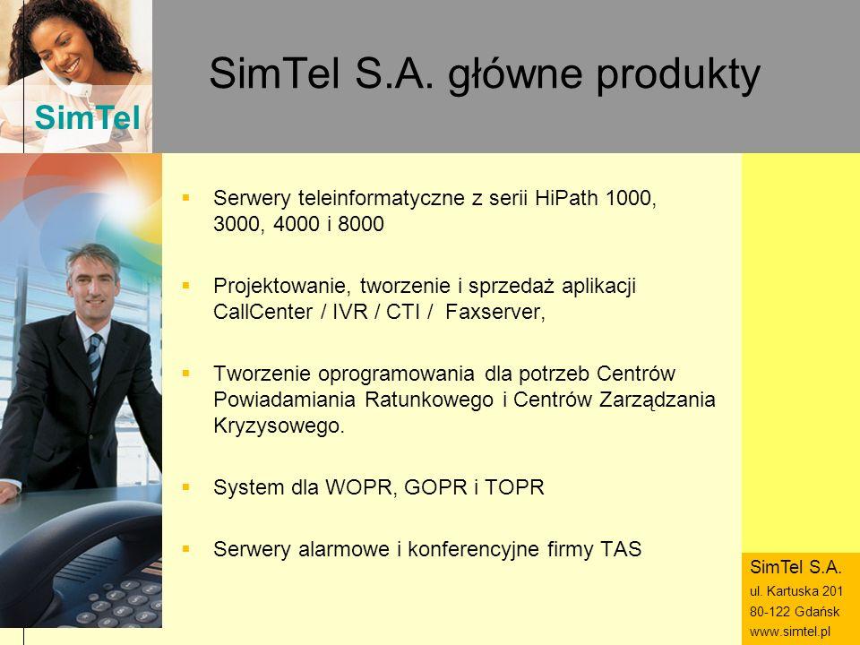SimTel ul. Hubala 14 80-289 Gdańsk www.simtel.pl SimTel SimTel S.A. główne produkty Serwery teleinformatyczne z serii HiPath 1000, 3000, 4000 i 8000 P