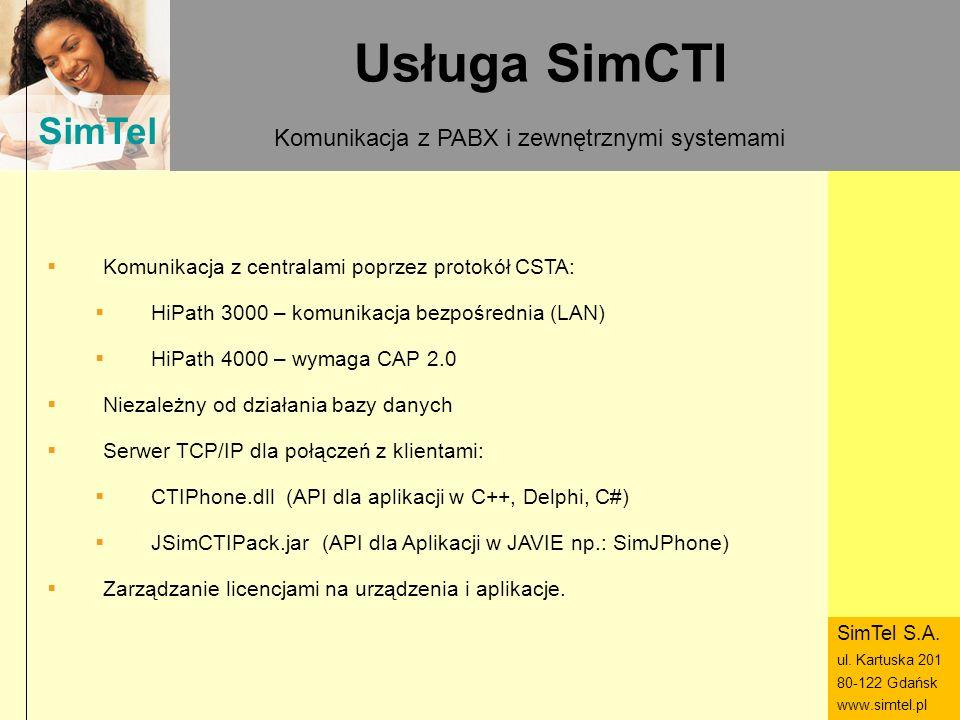 SimTel ul. Hubala 14 80-289 Gdańsk www.simtel.pl SimTel Usługa SimCTI Komunikacja z PABX i zewnętrznymi systemami Komunikacja z centralami poprzez pro
