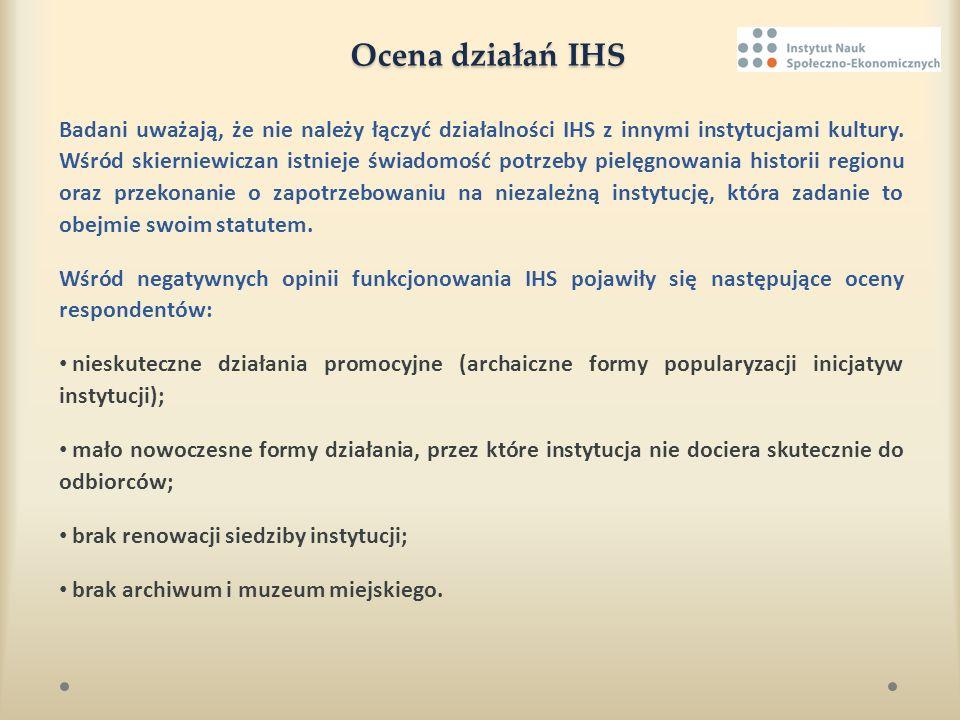 Ocena działań IHS Badani uważają, że nie należy łączyć działalności IHS z innymi instytucjami kultury. Wśród skierniewiczan istnieje świadomość potrze