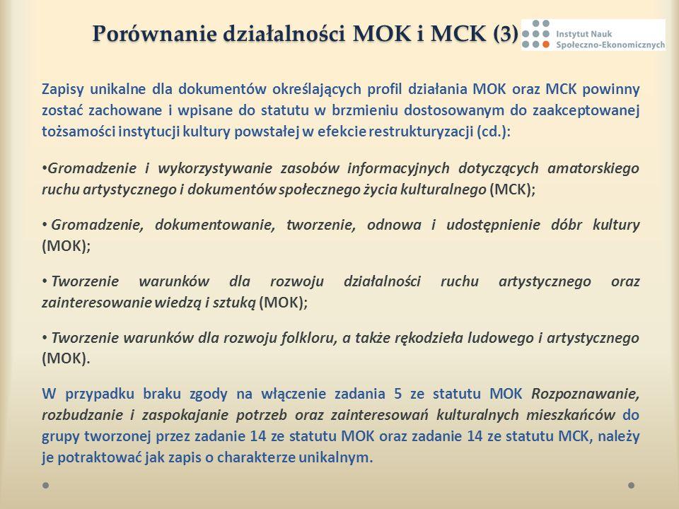 Porównanie działalności MOK i MCK (3) Porównanie działalności MOK i MCK (3) Zapisy unikalne dla dokumentów określających profil działania MOK oraz MCK